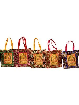Lot of Five Brocaded Shopper Bags from Banaras with Buddha in Bhumisparsha Mudra