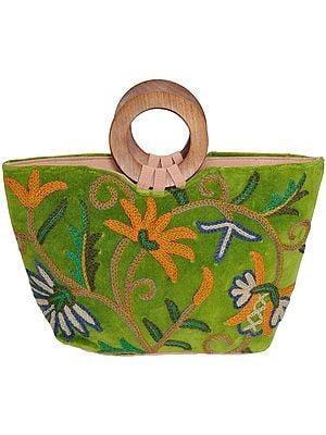 Fluorite-Green Handbag from Kashmir with Ari-Embroidery