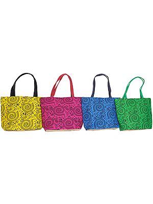 Lot of Four Shopper bags with Printed Warli Folk Motifs