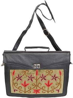Black Briefcase from Kashmir with Ari Embroidery