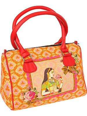 Orange Tote Bag from Jaipur with Digital-Printed Ragini