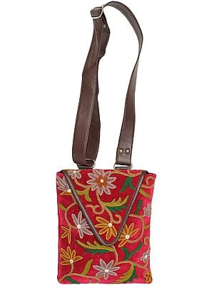 Raspberry-Wine Shoulder Bag from Kashmir with Floral Embroidery