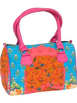 Pink and Blue Tote Bag from Jaipur with Digital-Printed Peacocks