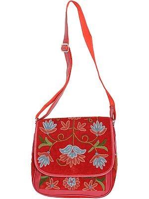 Garnet-Red Handbag from Kashmir with Ari Embroidered Flowers