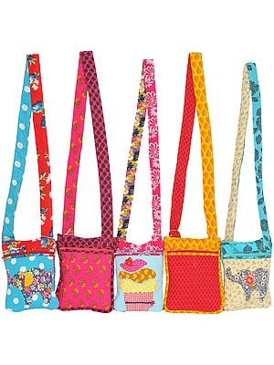 Lot of Five Printed Passport Bags with Straight Stitch and Applique-work