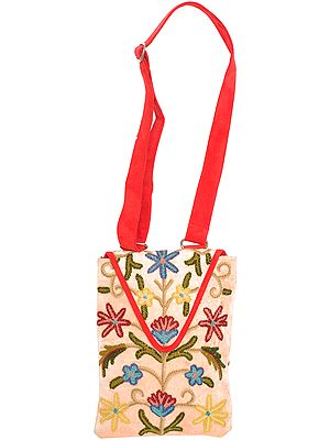 Cream and Red Handbag with Ari-Embroidery by Hand