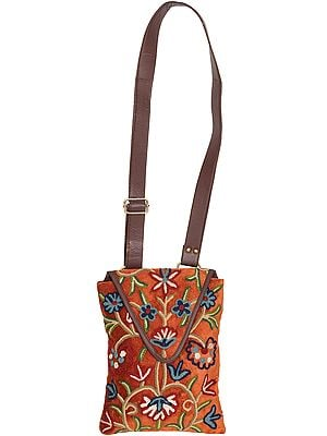 Copper-Brown Floral Embroidered Shoulders Bag from Kashmir with Leather Strap