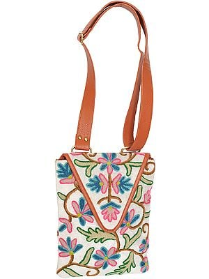 White and Brown Floral Embroidered Shoulders Bag from Kashmir with Leather Strap