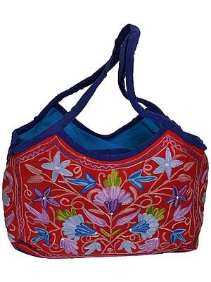 Red and Blue Shopper Bag from Kashmir with Ari Embroidered Flowers