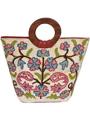 Ari-Embroidered Handbag from Kashmir with Wood Handles