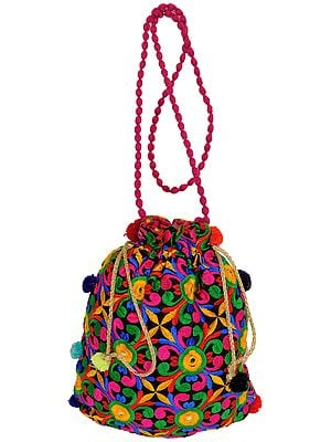 Multicolored Floral-Embroidered Drawstring Potli Bag