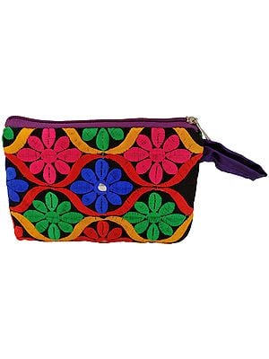 Embroidered Clutch Bag with Mirrors