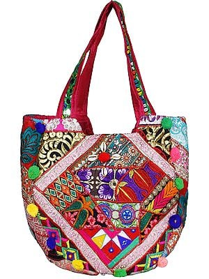 Multicolored Shopper Bag from Kutch with Floral Embroidery and Sea-Shells
