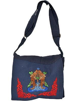 Jhola Bag with Embroidered Tibetan Ashtamangala Symbol
