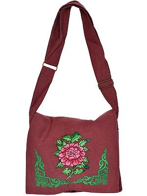 Jhola Bag with Embroidered Tibetan Ashtamangala Symbol