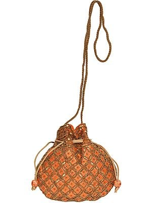 Designer Drawstring Potli Bag with Embroidered-Beads and Sequins