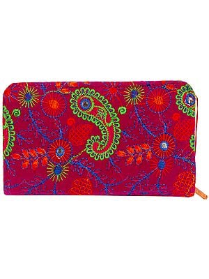 Velvet Clutch Bag with Embroidered Paisleys and Mirrors