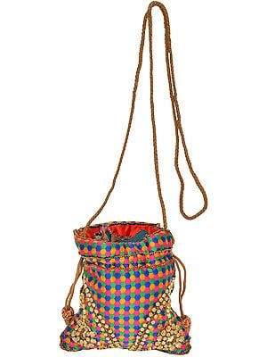 Multicolor Drawstring Potli Bag with Embroidered-Beads