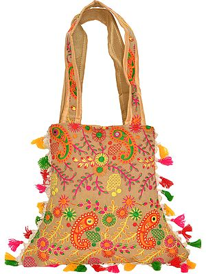 Jhola Bag with Embroidered Paisleys and Mirrors