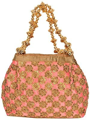 Salmon-Rose Bracelet Bag with Embroidered-Sequins and Beaded Handles