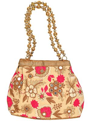 Cream Floral Embroidered Bracelet Bag with Mirrors and Beaded Handles