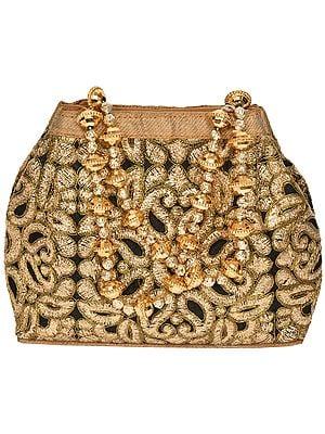 Black and Golden Bracelet Bag with Embroidered Paisleys and Beaded Handles
