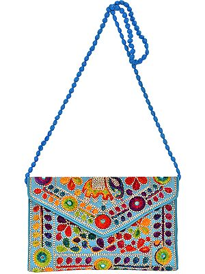 Clutch Bag with Embroidered Elephants and Mirrors