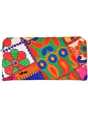 Multicolored Clutch Bag with Floral-Embroidery