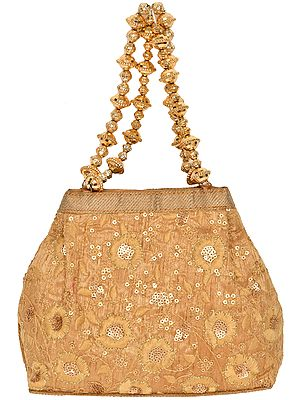 Golden Bracelet Bag with Beaded Handles and Embroidered Sequins