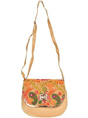 Shoulder Bag with Thread-Embroidery and Mirrors