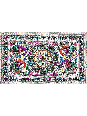 Pearled-ivory Wall-Hanging from Kutch with Embroidered Flowers and Peacocks in Multicolor Thread