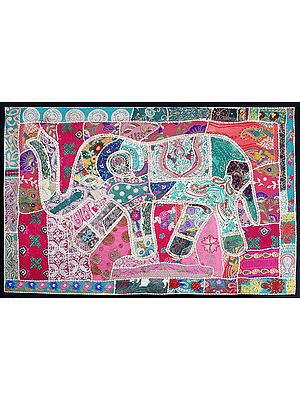 Caviar-Black Hand-Crafted Embroidered Patchwork Elephant Wall Hanging from Gujarat with Sequins