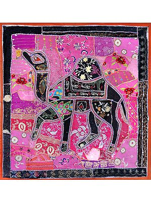 Burnt-Orange Hand-Crafted Embroidered Patchwork Camel Wall Hanging from Gujarat with Sequins