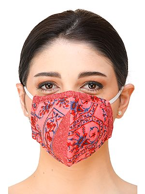 Pink Two-Ply Printed Fashion Mask with Cotton-Backing and Ear Loops
