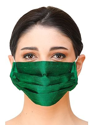 Two ply Plain Khadi Silk Fashion Mask with Cotton- Backing and Ear Loops