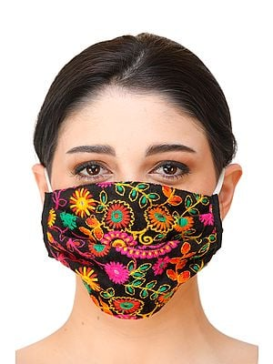 Jet-Black Two-Ply Embroidered Fashion Mask with Cotton-Backing and Ear Loops