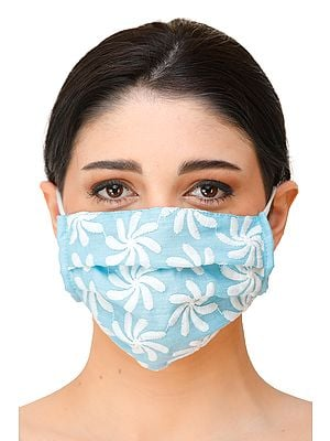 Fashion Two-ply Mask with Lukhnavi Chikan Embroidery and Cotton-Backing and Ear Loops