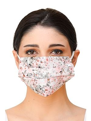 Pure white Two-Ply Printed Fashion Mask with Cotton-Backing and Ear Loops