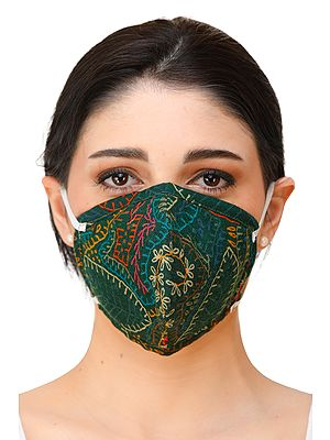 Dark Green Two ply Fashion Mask with Printed Flowers and Cotton-Backing