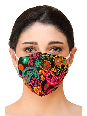 Two-ply Embroidered Fashion Mask with Multi-color Thread Embroidery and Cotton-Backing