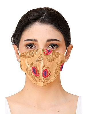 Brocaded Two-ply Fashion Mask from Banaras with Woven Flowers and Cotton-Backing