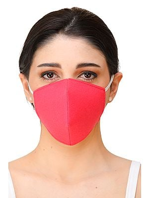 Magenta Pink Two-Ply Printed Fashion Mask with Ear Loops