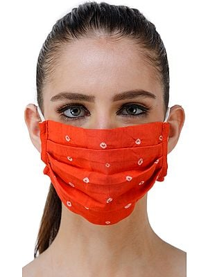 Two ply Fashion Mask from Jaipur with Bandhini (tie-dye) Design and Cotton-Backing