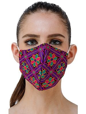 Woven Flowers Two ply Fashion Mask with Cotton-Backing from Jaipur