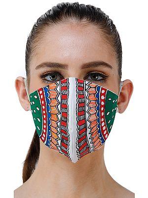 Two Ply Cotton Fashion Mask with Hand-Painted Madhubani Motifs (Watermelon)