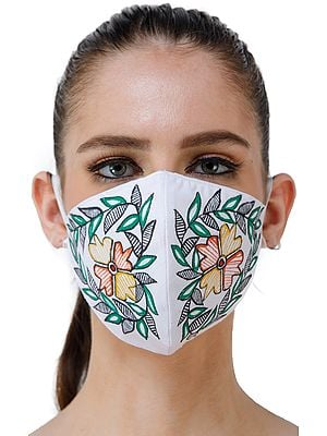 Two Ply Cotton Fashion Mask with Hand-Painted Madhubani Motifs (Flower with Olive Branches)