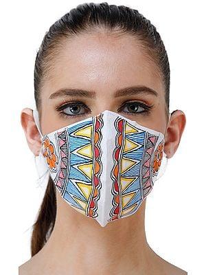 Two Ply Cotton Fashion Mask with Hand-Painted Madhubani Motifs (Geometric)