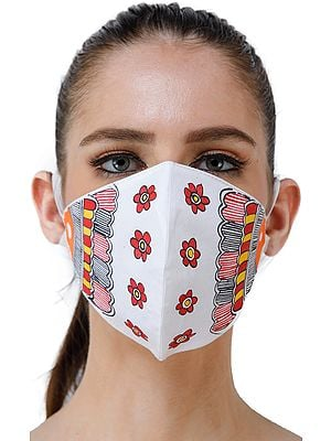 Two Ply Cotton Fashion Mask with Hand-Painted Madhubani Motifs (Four Flowers)