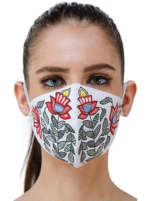 Two Ply Cotton Fashion Mask with Hand-Painted Madhubani Motifs (Two Flowers)