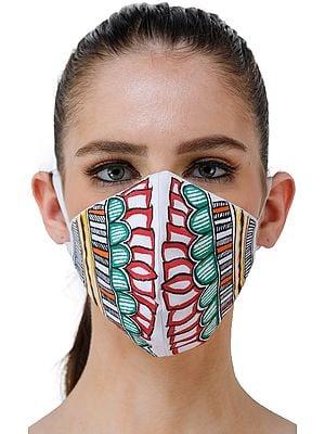 Two Ply Cotton Fashion Mask with Hand-Painted Madhubani Motifs (Lotus)